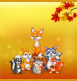 cartoon wild animals with autumn background vector image vector image