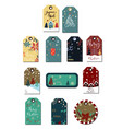 christmas tags cute collection vector image