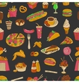 Colored hand drawn fast food pattern vector image vector image