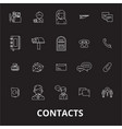 contacts editable line icons set on black vector image vector image