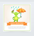 cute funny green monster with colorful umbrella vector image vector image