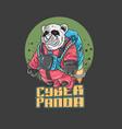 cyber panda rocket universe vector image