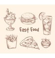 Fast food set in hand drawn sketch style vector image