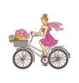 feminine girl in pink dress riding a bicycle vector image vector image