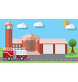 Flat design of fire station building and parked vector image