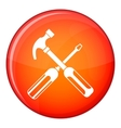 Hammer and screwdriver icon flat style vector image vector image