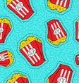 Hand drawn popcorn bucket patch icon pattern vector image vector image