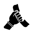 hand holding a phone icon vector image vector image