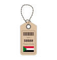 hang tag made in sudan with flag icon isolated on vector image vector image