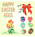 happy easter decoration easter eggs and tulips on vector image vector image