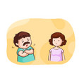 husband talk about problem to his wife vector image vector image