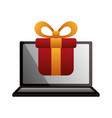 laptop gift box shopping online vector image