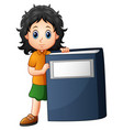 little girl holding a big book vector image