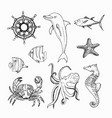 marine topic hand drawn elements vector image