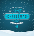 Merry Christmas Greetings Postcard with Vintage vector image vector image