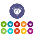 mine diamond icons set color vector image