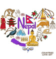 Nepal symbols in heart shape concept vector image vector image