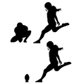 place kick field goal silhouettes vector image vector image