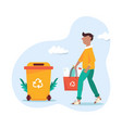 recycling concept young man with sorted garbage vector image vector image