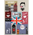 Retro style poster with London symbols vector image vector image