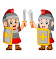 roman soldier with sword standing up vector image