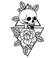 rose tattoo and skull with sacred geometry frame vector image vector image