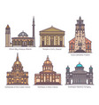 set religion sanctuary buildings in color vector image vector image