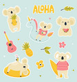 set stickers with cute koalas vector image vector image