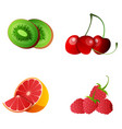 set whole and slice fruit for menu advertising vector image vector image