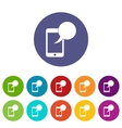 Speech bubble on phone set icons vector image vector image