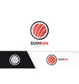 sushi logo combination japanese food and vector image vector image
