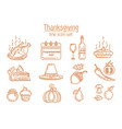 thanksgiving line icon set vector image vector image