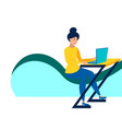 the girl at desk working a laptop in vector image vector image