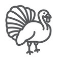 turkey bird line icon animal and farm vector image vector image