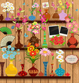 Wooden shelves with lovely flowers and photo vector image vector image
