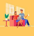 young couple relaxing on the couch with laptop in vector image vector image