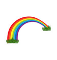 abstract rainbow colored with grass on white vector image