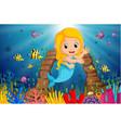 cartoon mermaid underwater vector image