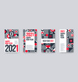 2021 new year greeting card set vector image vector image