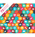 75 high quality solid icons vector image vector image