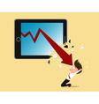 Bankruptcy concept red arrow crash tablet screen vector image