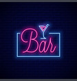 bar neon sign neon banner cocktail on wall vector image vector image