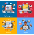 Blogging Flat 2x2 Icons Set vector image vector image
