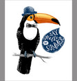 card with hand drawn toucan hipster vector image vector image