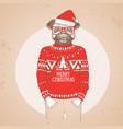 christmas hipster fashion animal pug dog vector image vector image