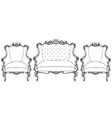 classic imperial baroque armchair set vector image vector image