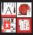 collection with cards about calligraphy vector image