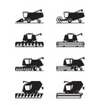 combine harvester in different perspective vector image vector image