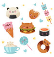 cute kawaii food cartoon characters set desserts vector image vector image