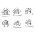 dragon logo set vector image vector image